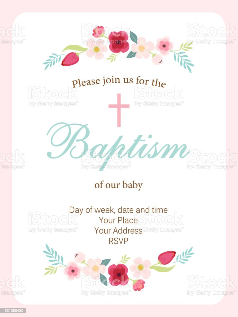 Cute vintage Baptism invitation card with hand drawn flowers vector art illustration
