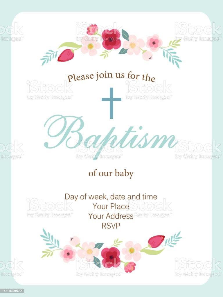 Lindo vintage tarjeta de invitación de bautismo con la mano dibujado flores - ilustración de arte vectorial