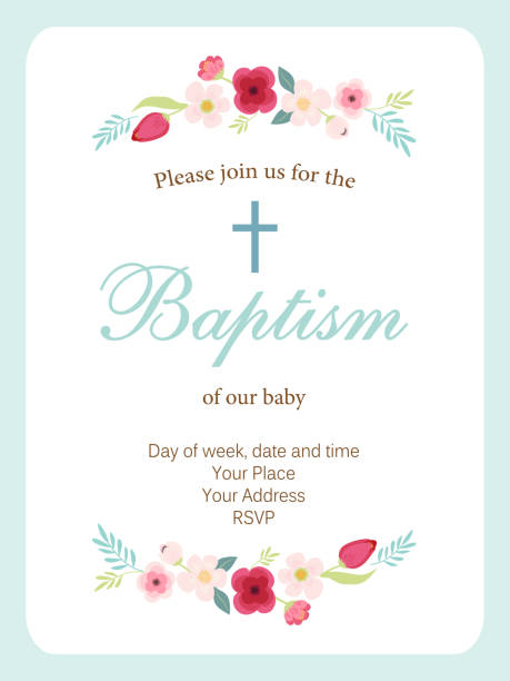 cute vintage baptism invitation card with hand drawn flowers - baptism stock illustrations, clip art, cartoons, & icons