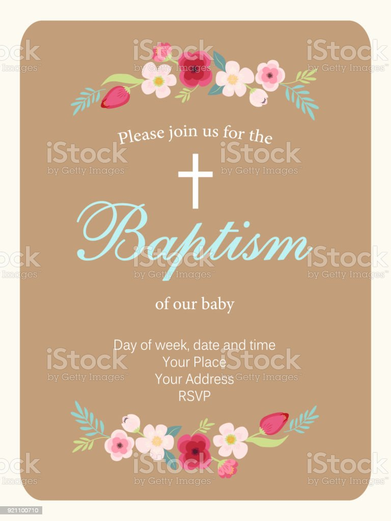 Cute vintage Baptism invitation card with hand drawn flowers - illustrazione arte vettoriale