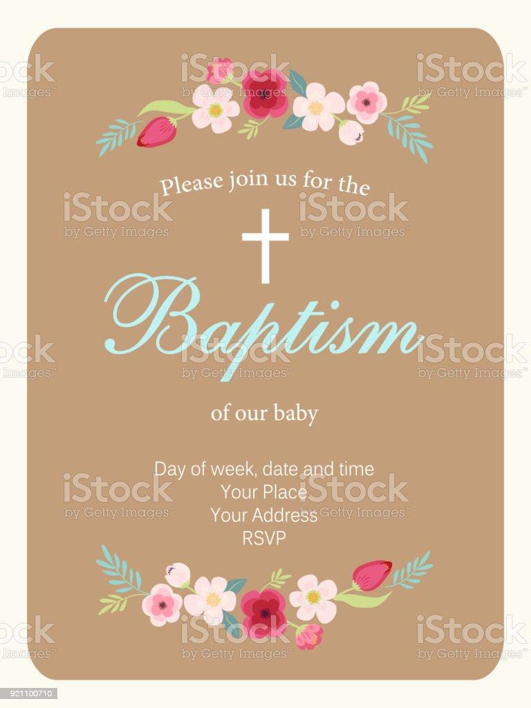 Cute vintage Baptism invitation card with hand drawn flowers - ilustração de arte vetorial