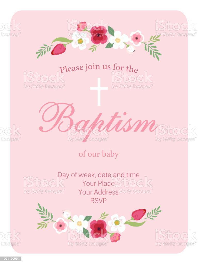 Niedliche Vintage Taufe Einladungskarte Mit Hand Gezeichnet