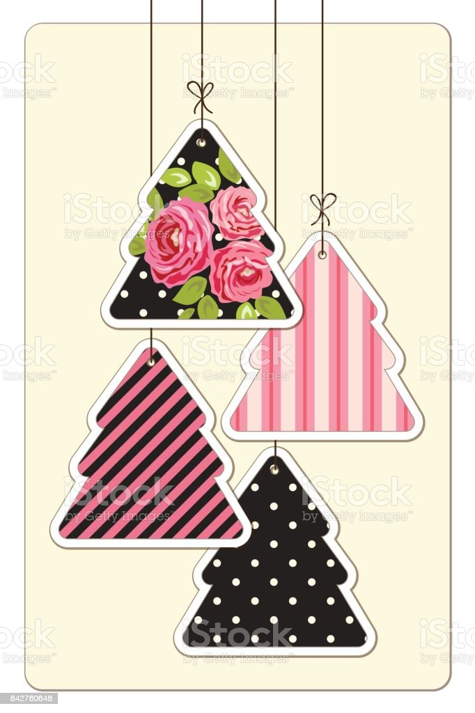 Cute Vintage Christmas Card In Shabby Chic Style Stock Illustration Download Image Now Istock