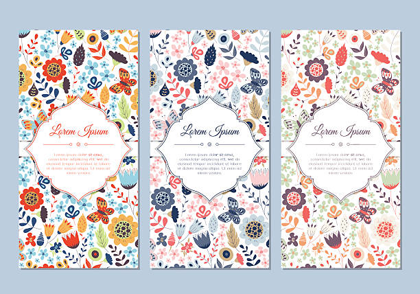 cute vintage doodle floral cards set - wedding fashion stock illustrations, clip art, cartoons, & icons