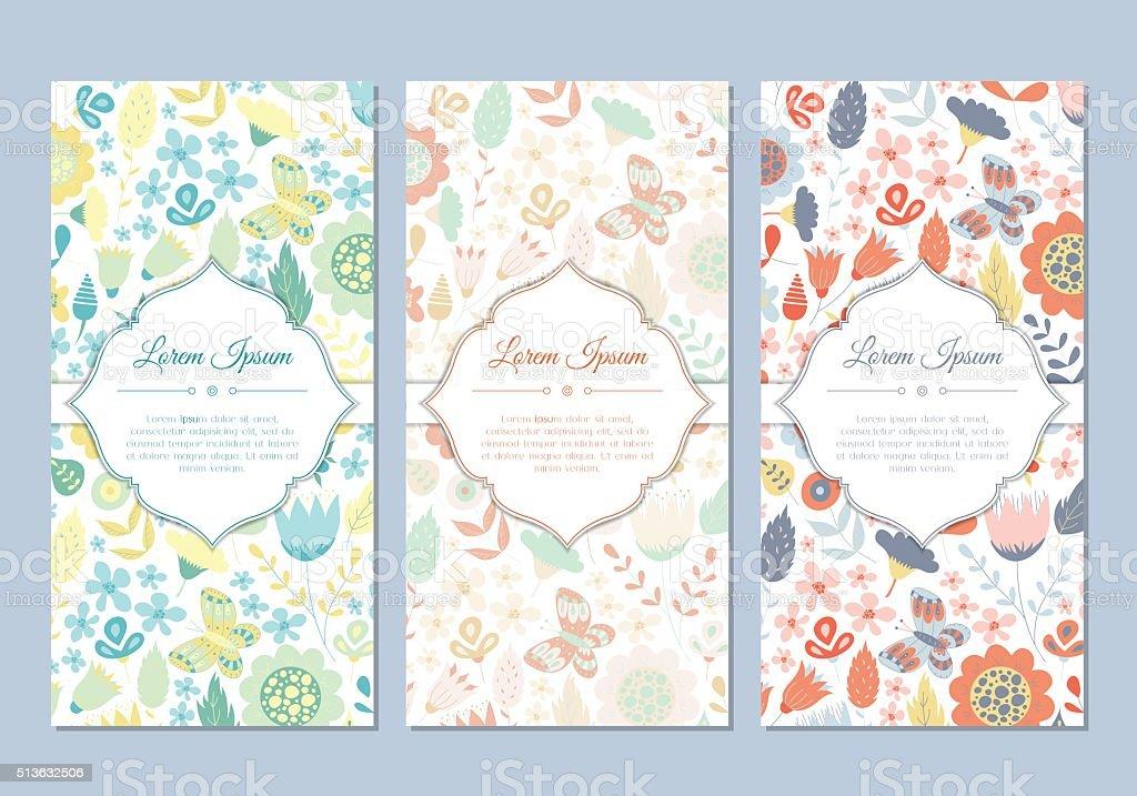 かわいいビンテージ落書きの花のカードセット ベクターアートイラスト
