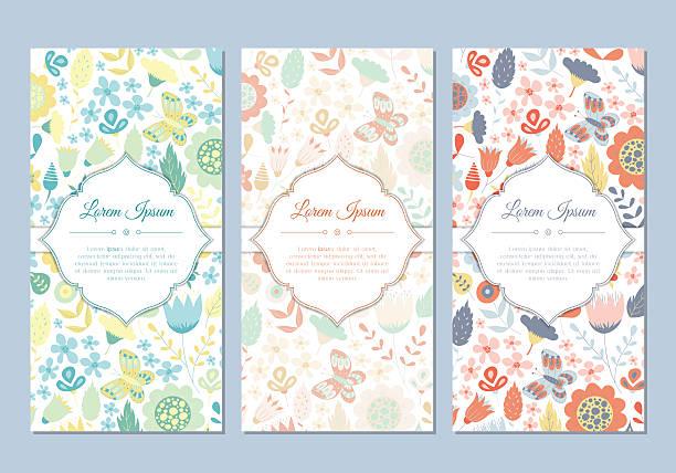 かわいいビンテージ落書きの花のカードセット - 春のファッション点のイラスト素材/クリップアート素材/マンガ素材/アイコン素材