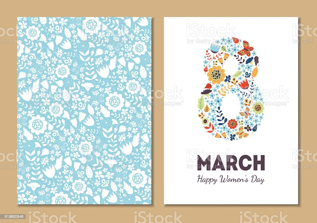 Cute vintage floral holiday cards 8 march vector art illustration