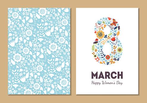 Cute Vintage Floral Holiday Cards 8 March向量圖形及更多8號圖片