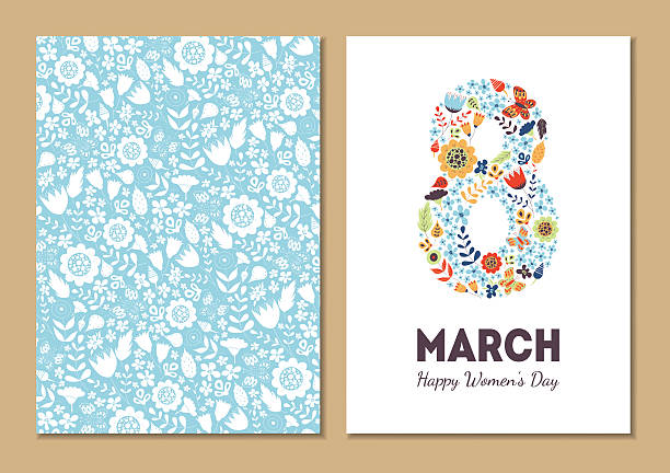 cute vintage floral holiday cards 8 march - international womens day stock illustrations, clip art, cartoons, & icons