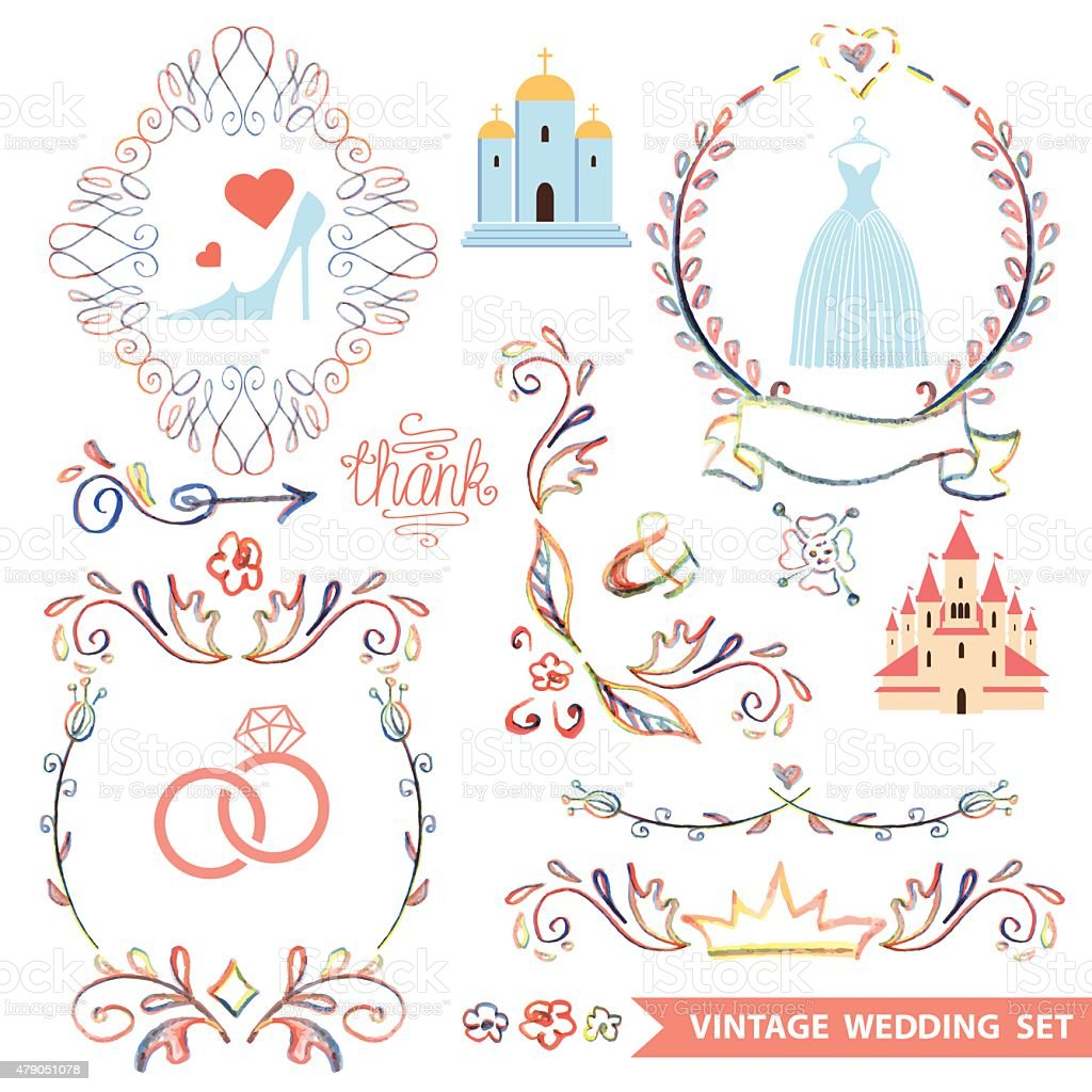 Cute vintage floral set with wedding iconsdoodle decor stock cute vintage floral set with wedding iconsdoodle decor royalty free cute vintage floral junglespirit Image collections