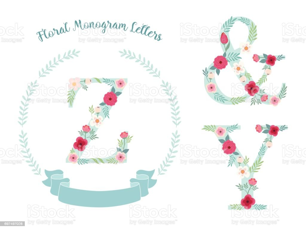 Cute Vintage Monogram Alphabet Letters With Hand Drawn Rustic Flowers Stock Illustration Download Image Now Istock