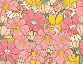cute vintage pastel doodle flower pattern seamless background