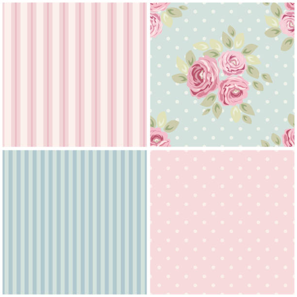 Cute vintage seamless shabby chic floral patterns for your decoration Cute vintage seamless shabby chic floral pattern for your decoration, can be used as wallpapers, fabrics design etc shabby chic stock illustrations