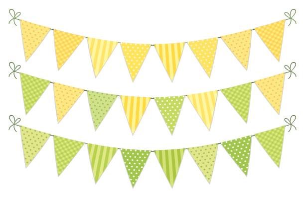 Cute vintage textile green and yellow shabby chic bunting flags for summer festivals, birthday, baby shower Cute vintage textile green and yellow shabby chic bunting flags for summer festivals, birthday, baby shower, lemonade play stand etc lemonade stand stock illustrations
