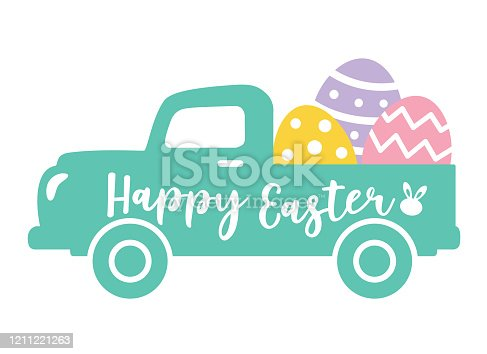 istock Cute Vintage Truck Carrying Easter eggs 1211221263
