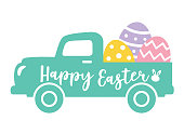 Vector illustration of a cute vintage truck carrying Easter eggs.