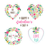 Cute vintage Valentine's Day frames as rustic hand drawn first spring flowers in heart shape for your decoration