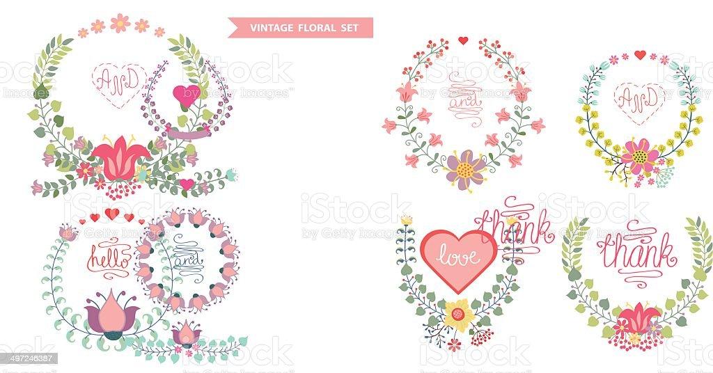 かわいい花のビンテージベクトルのセットでハート型リース