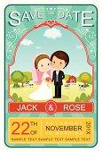 Cute Vintage Wedding in Farm Invitation Card Vector/Illustrator