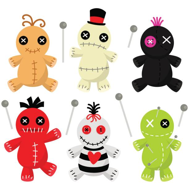 Cute Voodoo Doll Collection A set of creepy voodoo dolls. voodoo stock illustrations