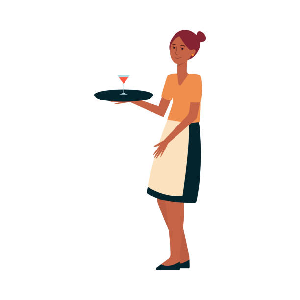 illustrazioni stock, clip art, cartoni animati e icone di tendenza di a cute waitress serving a drink with a tray flat vector isolated on background. - portrait of waiter and waitress holding a serving