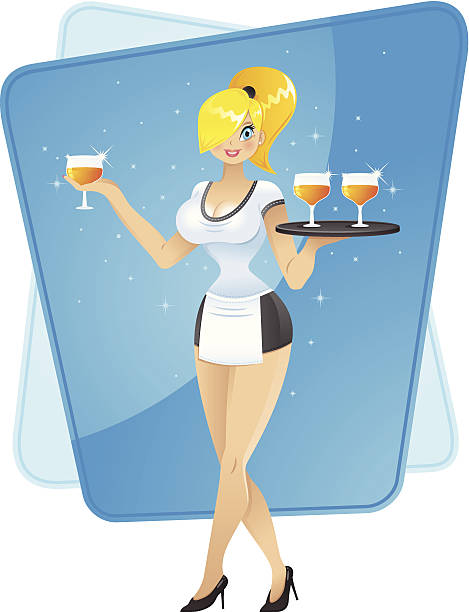 illustrazioni stock, clip art, cartoni animati e icone di tendenza di carina cameriera - portrait of waiter and waitress holding a serving