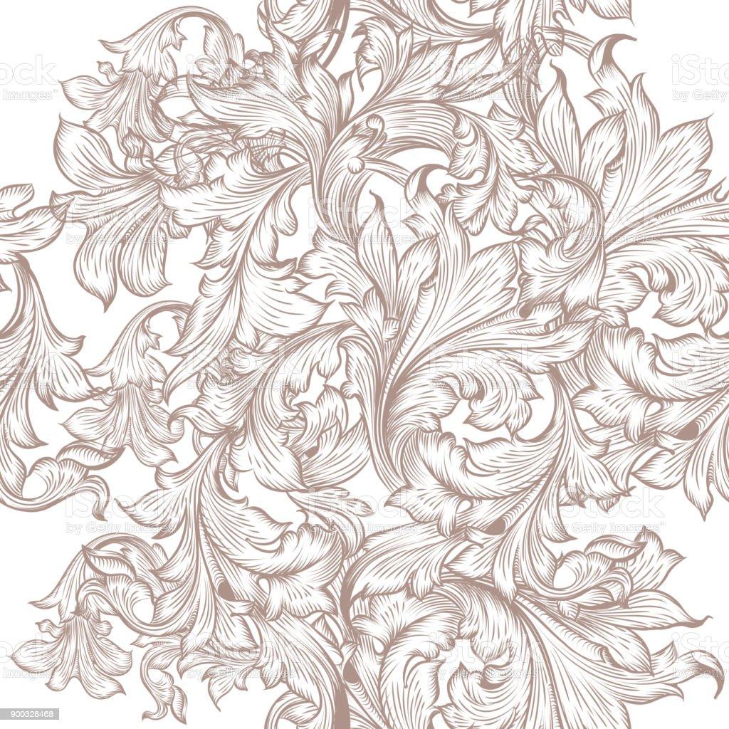 Modèle De Joli Papier Peint Dans Le Style Vintage Avec Des Remous