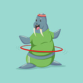 Cute Walrus cartoon character doing exercises with hula hoop. Fitness and healthy lifestyle. Vector illustration of fat funny animal isolated on background.