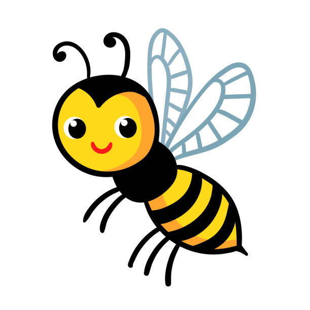 Cute wasp on a white background. Vector illustration with insect Cute wasp on a white background. Vector illustration with insect on white background. bee clipart stock illustrations