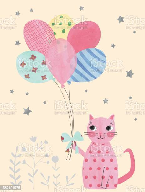 Cute watercolor cat with balloons and stars vector id667121976?b=1&k=6&m=667121976&s=612x612&h=5k9dq3115g 4omuger7cvflsbvw sbvedapgmrl2hu0=