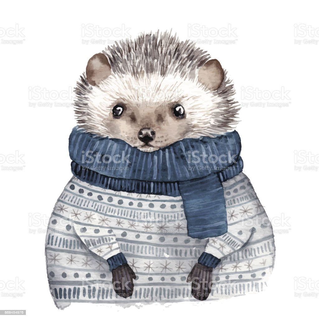 Cute watercolor hedgehog royalty-free cute watercolor hedgehog stock illustration - download image now