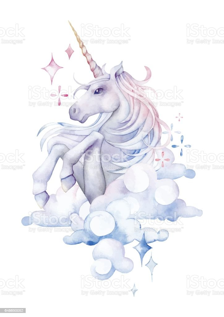 Cute watercolor unicorn vector art illustration