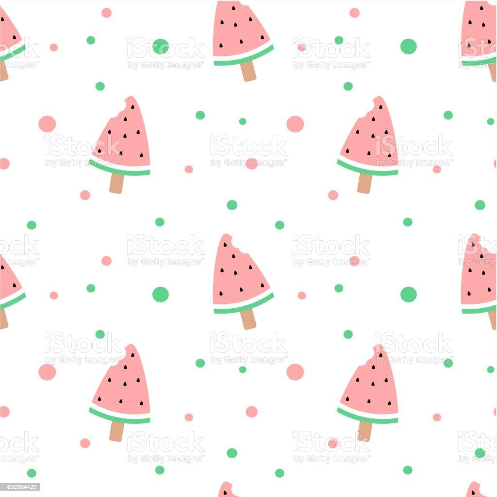 かわいいスイカかまアイスクリーム シームレスなベクトル パターン背景