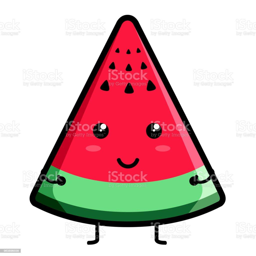 Cute watermelon emoticon - Royalty-free Cartoon stock vector