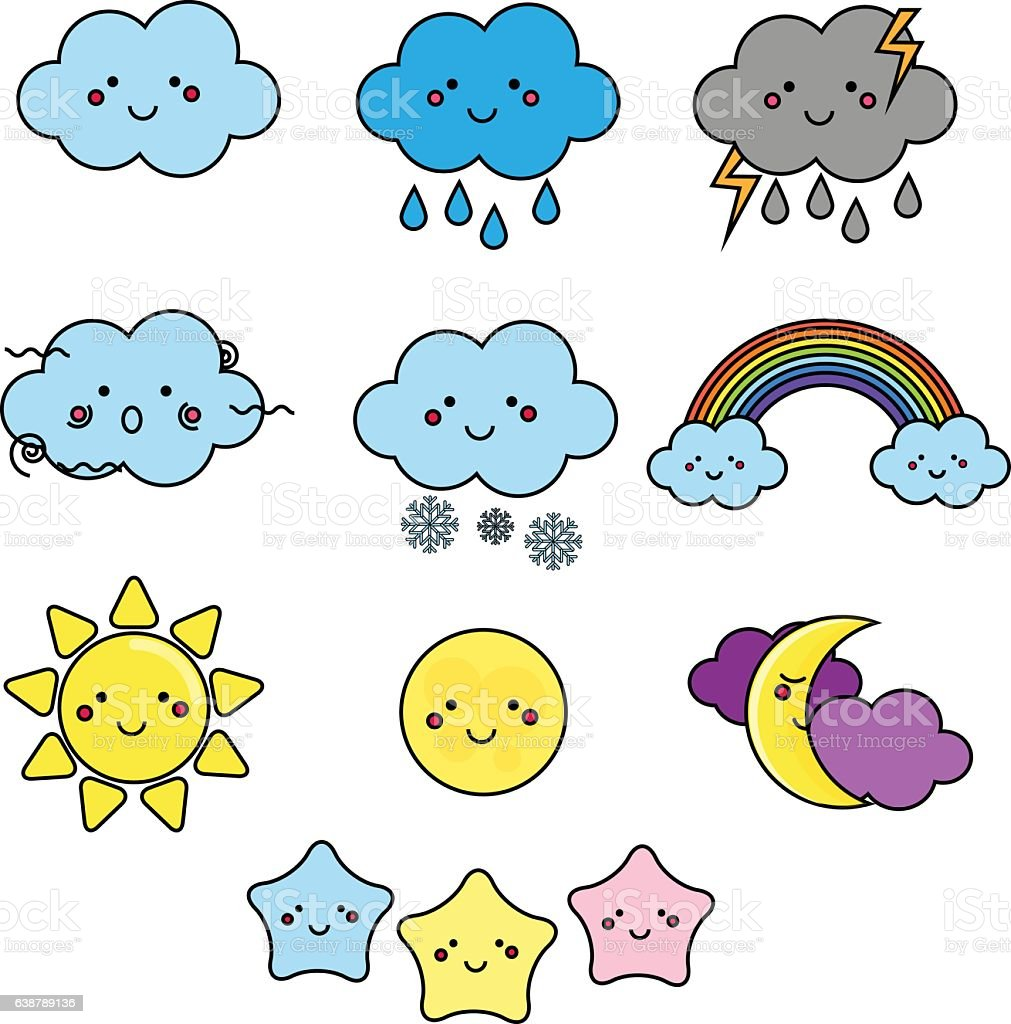 cute weather and sky elements kawaii illustration for kids royalty free stock vector art - Weather Pics For Kids