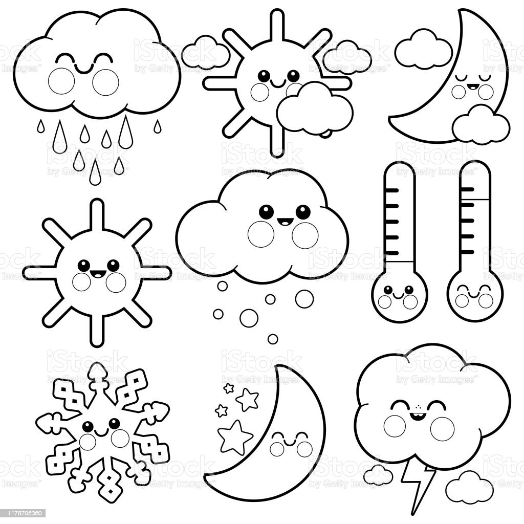 Cute Weather Icons Vector Black And White Coloring Page Stock Illustration    Download Image Now