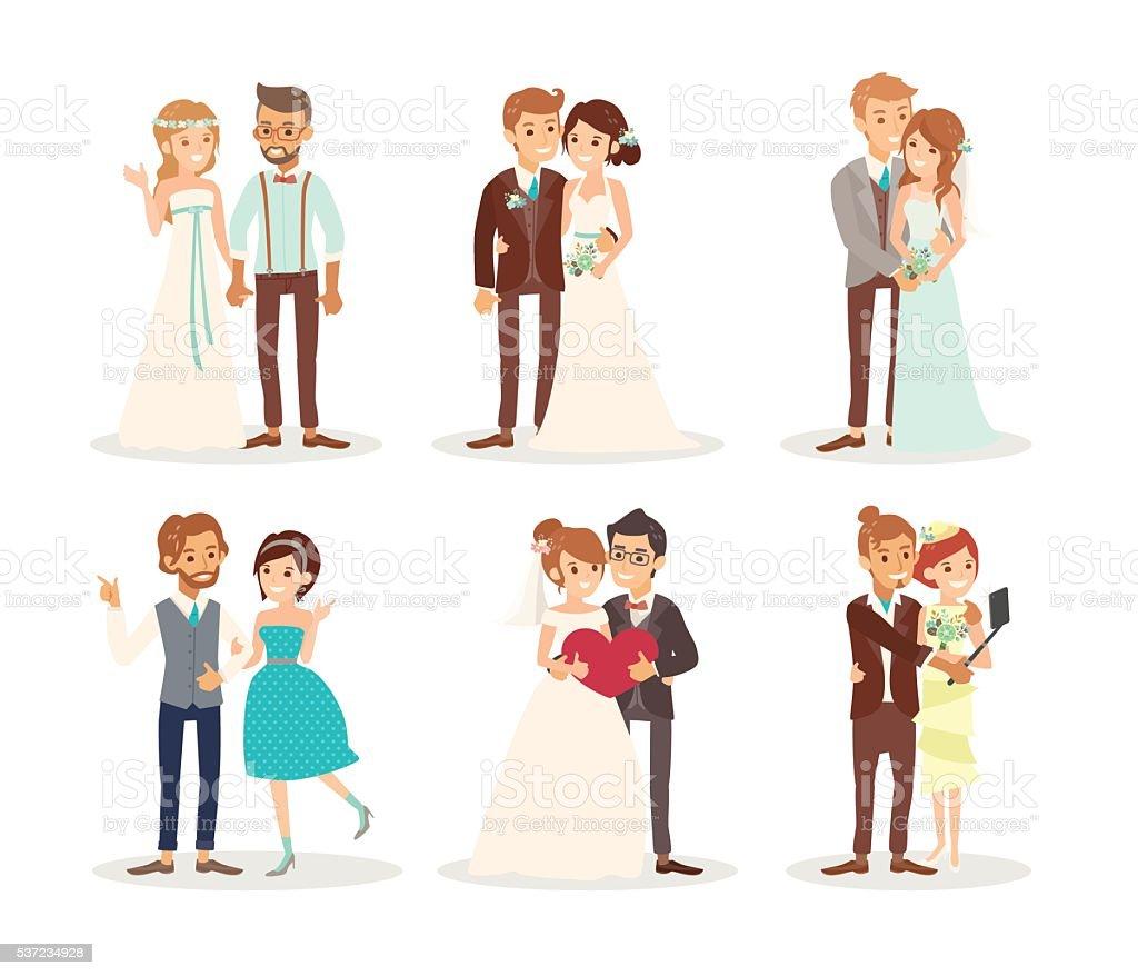 cute wedding couple bride and groom cartoon