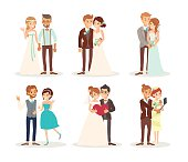cute wedding couple bride and groom cartoon