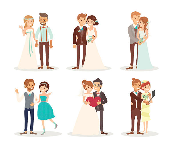 cute wedding couple bride and groom cartoon cute wedding couple bride and groom vector cartoon illustration bridegroom stock illustrations