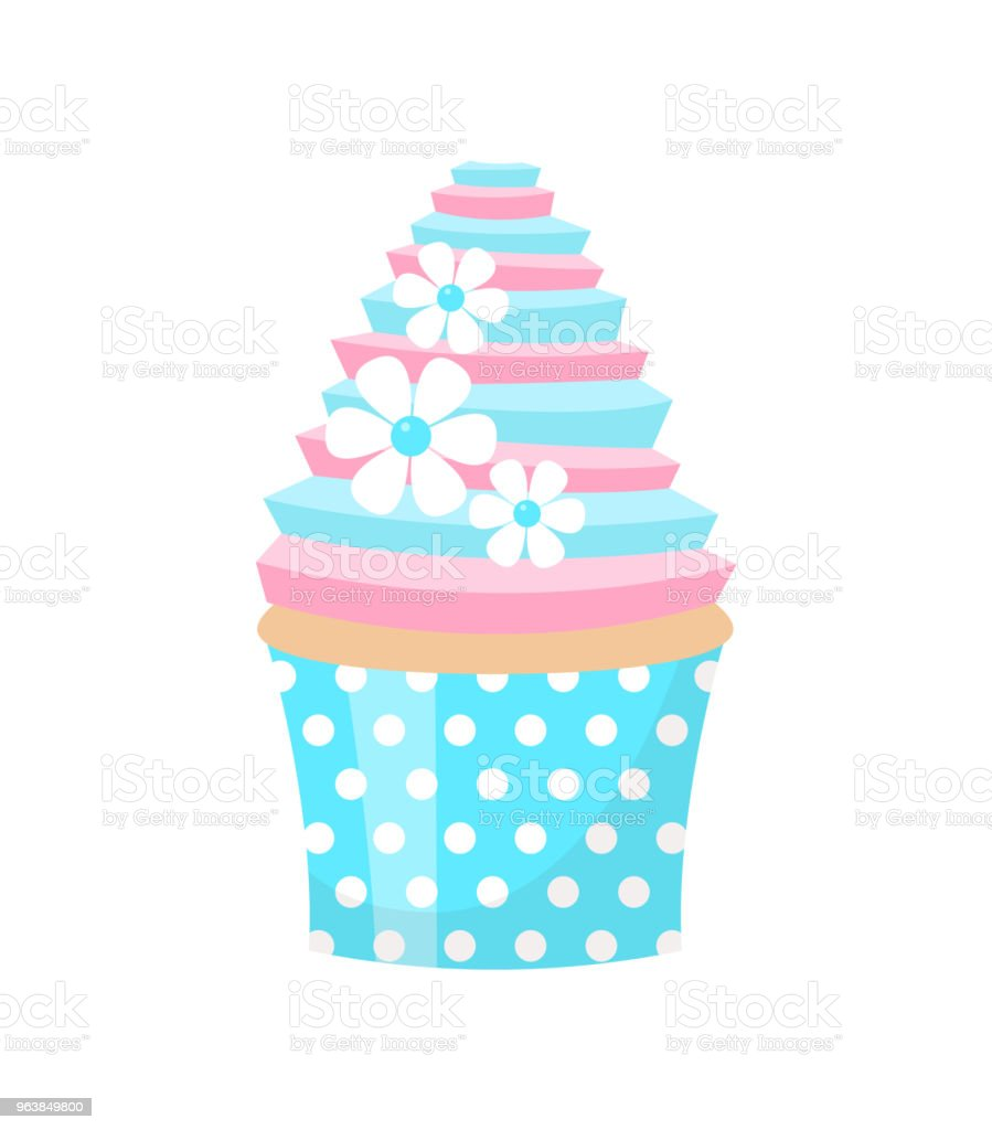 Cute wedding cupcake decorated with flowers. Isolated on white background. Vector illustration. - Royalty-free Baked stock vector
