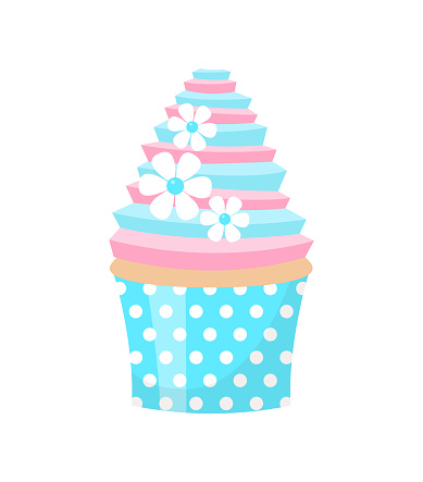 Cute Wedding Cupcake Decorated With Flowers Isolated On White Background Vector Illustration Stock Illustration - Download Image Now
