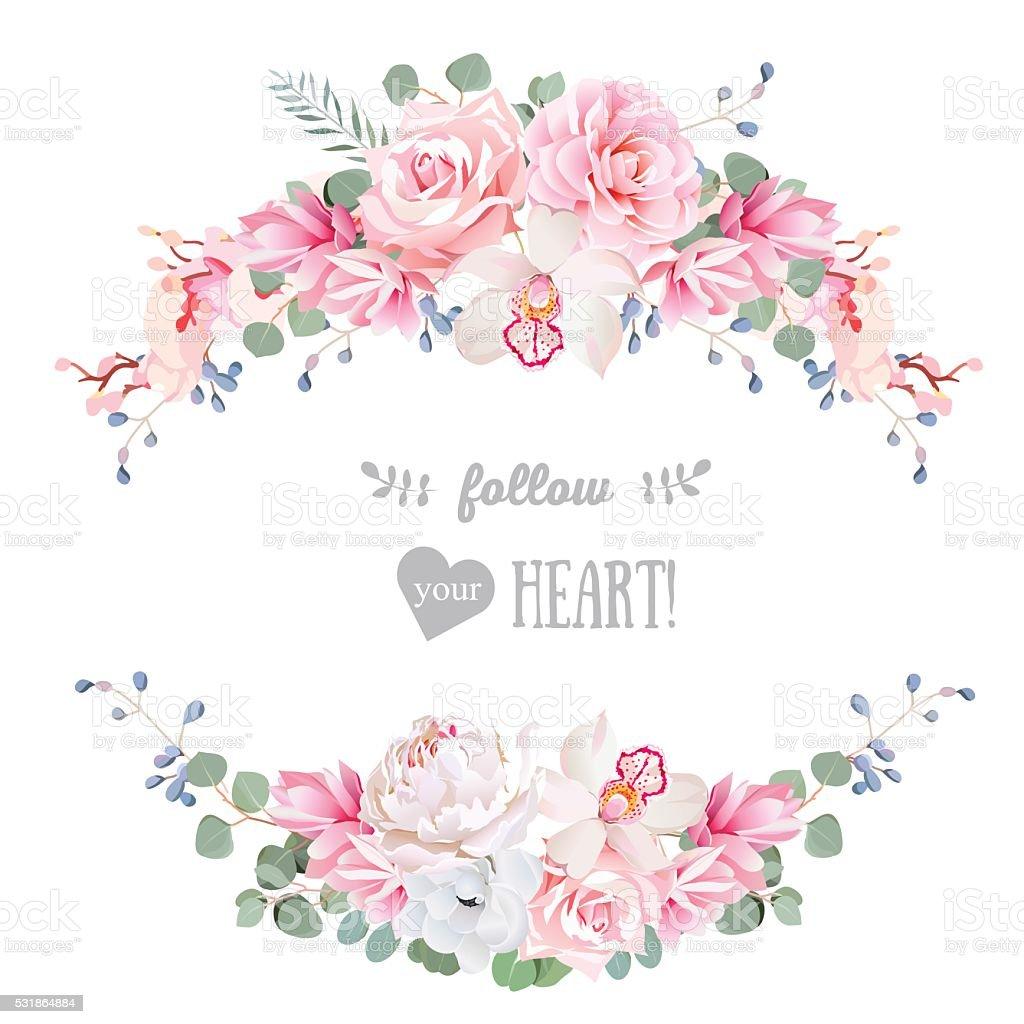 Niedlich Hochzeit Blumenvektordesigngestell Mit Bannerstreifen Und