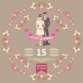 Retro wedding invitation with floral frame. Cute cartoon couple groom and bride in retro style with vignettes,ribbons.Vector design template
