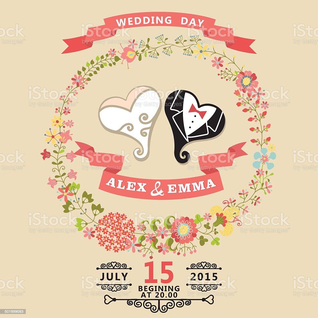 かわいい結婚式の招待状に図案化されたハートとフローラルリース