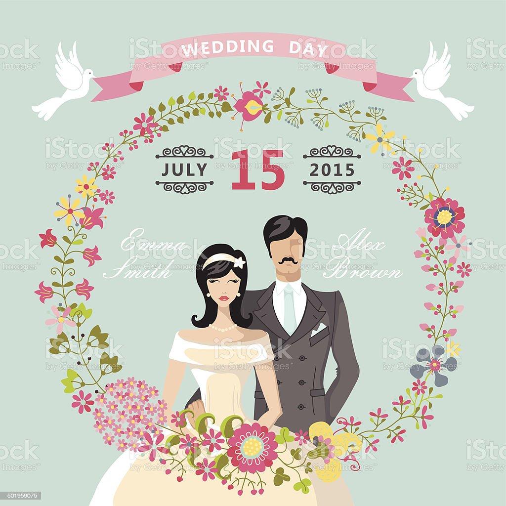 Cute Wedding Invitationfloral Wreathcartoon Bridegroom Stock Vector ...