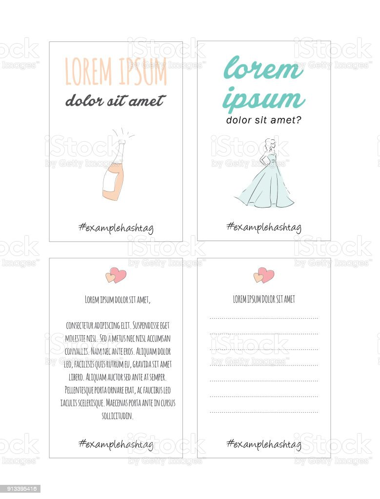 Cute Wedding Valentines Day And Anniversary Card Template For