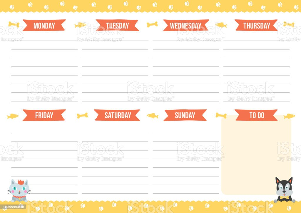 photo about Cute Weekly Planner titled Lovable Weekly Planner With Drawn Cat And Pet dog Inventory