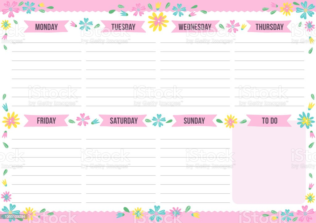 cute weekly planner with drawn flower stock vector art more images