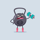Cute weight cartoon character doing exercise with a dumbbell. Fitness sport equipment vector flat concept illustration isolated on background.