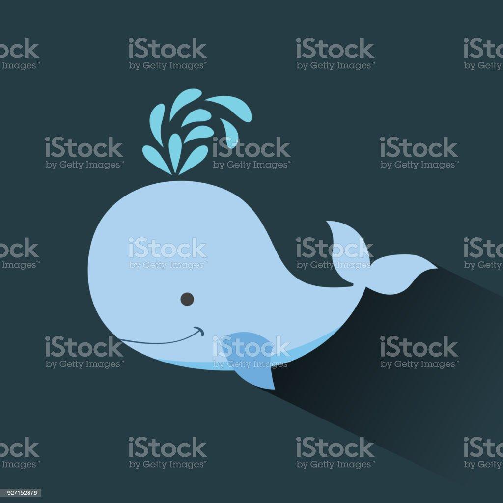 image d'icône de baleine mignon dessin animé - Illustration vectorielle